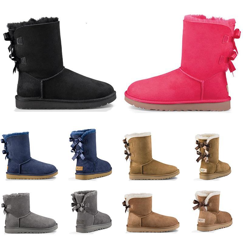 Yeni Geliş Lüks Tasarımcı Avustralya Kadınlar Kış Kar Boots Klasik Bilek Diz çök Kısa Bow Kürk Boot Siyah Kestane Platformu Sneakers Ayakkabı