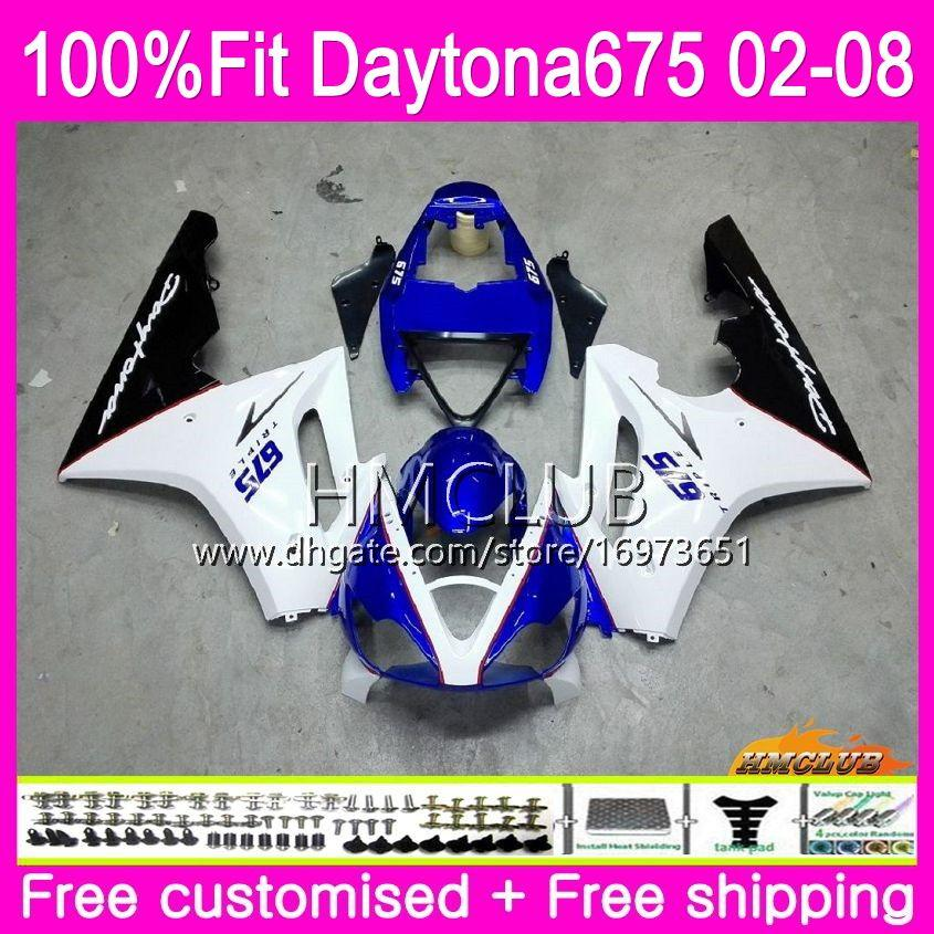 Корпус впрыска для Triumph Daytona 675 02 03 04 05 06 07 08 43HM.6 Daytona675 2002 2003 2004 2005 2006 2007 2008 OEM Продажа Белый Синий Обтекатель