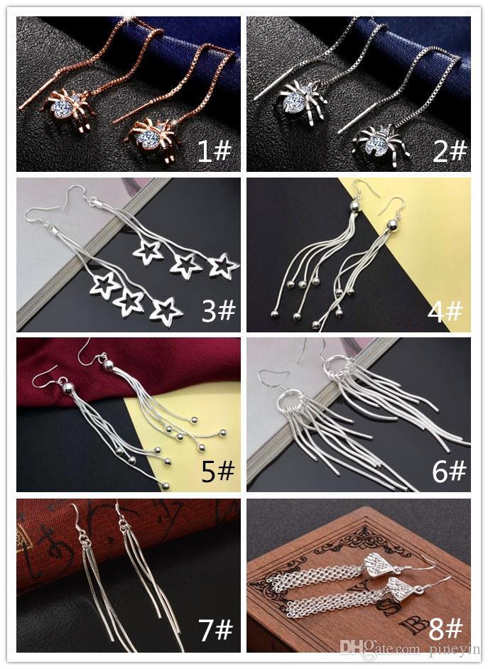 мода 925 серебряные стерлинговые серьги кисточкой серьги 8 стилей дизайнер роскошные серьги для вариантов посеребренные модель № NE920
