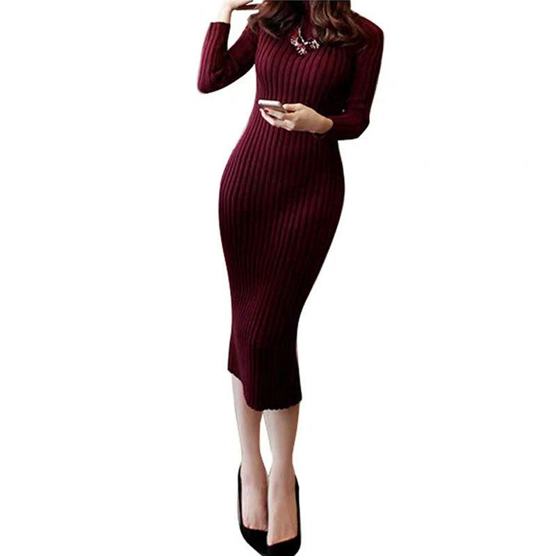 Kadınlar için CINESSD Triko Elbise uzun kollu 40kg-70kg için kırmızı, siyah, beyaz kış kadın Elastik Ofisi Sıcak Elbise örme