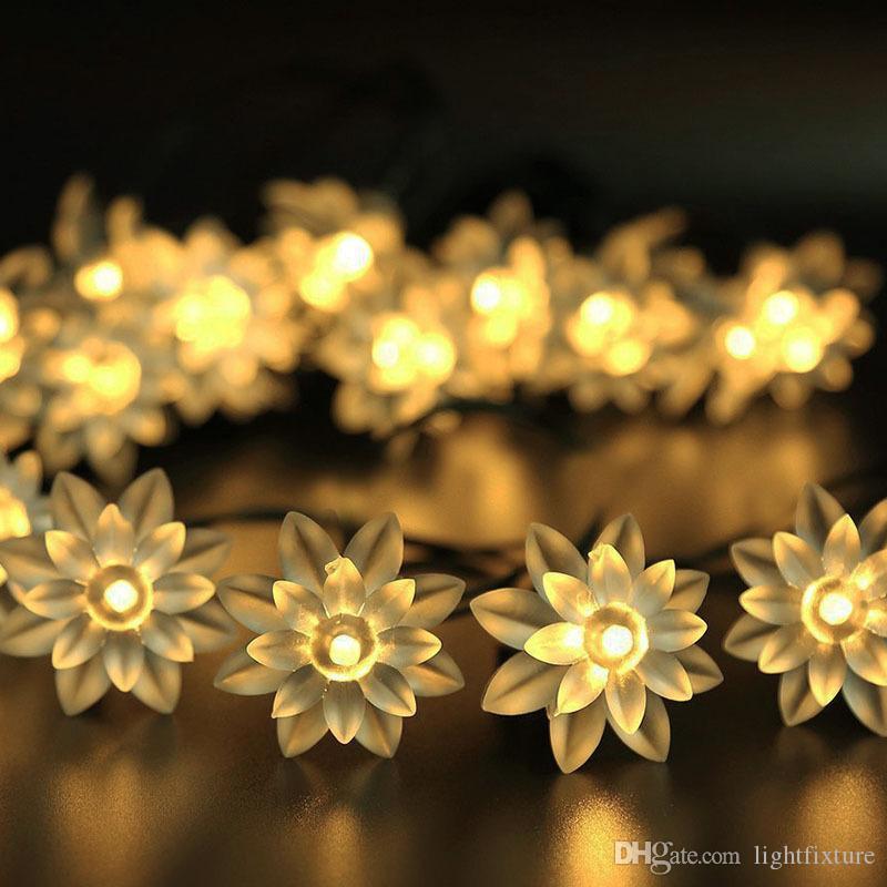 LED Güneş Lotus Dizeleri Çift Katlı Çiçek LED Işık Dize Açık Su Geçirmez Avlu Noel Düğün Parti Dekoratif Aydınlatma