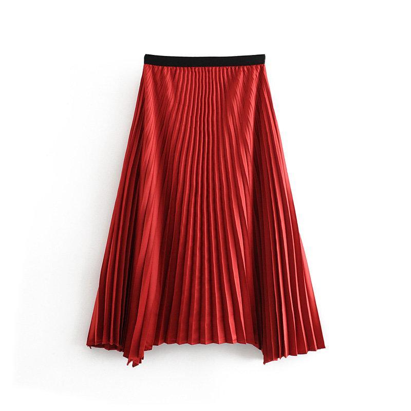 2019 Kadın moda düz renk düzensiz etek midi Etek Bayan elastik bel vestidos gündelik şık Etek QUN466 pilili