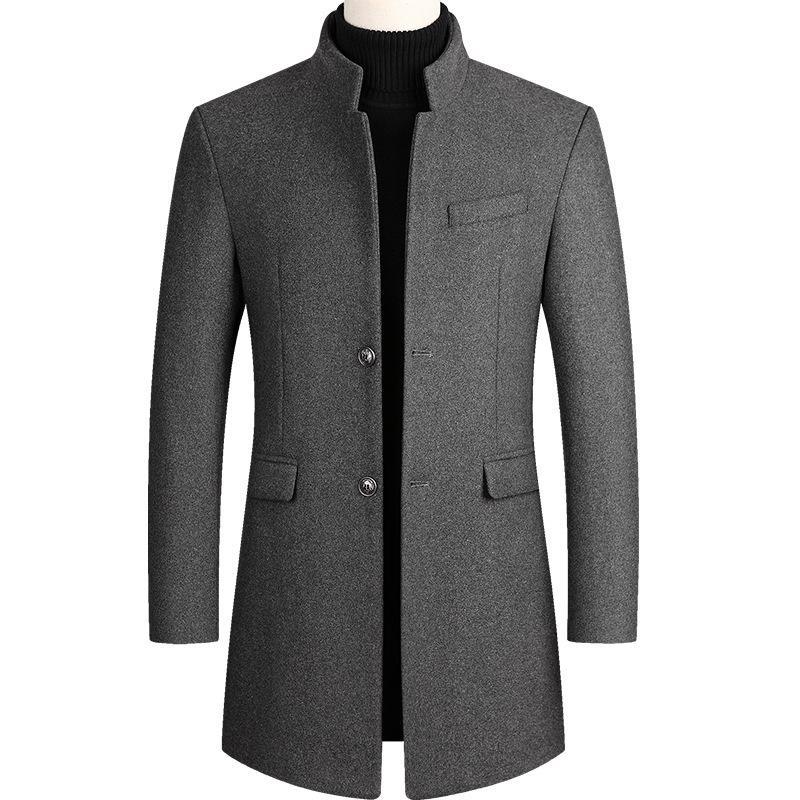 Autunno Inverno oversize di lana Miscela cappotto maschile Lungo Giacca a vento cotone spesso caldo Uomini Giacca grigia Cappotto Uomo 3XL 4XL T200312