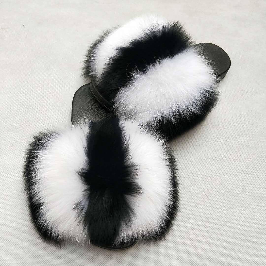 Sommer Fuchspelz Dias nette Plüsch Fox Pantoffeln 100% real Fuchshaar Luxus-Mode-Strandschuhe Größe 36-45