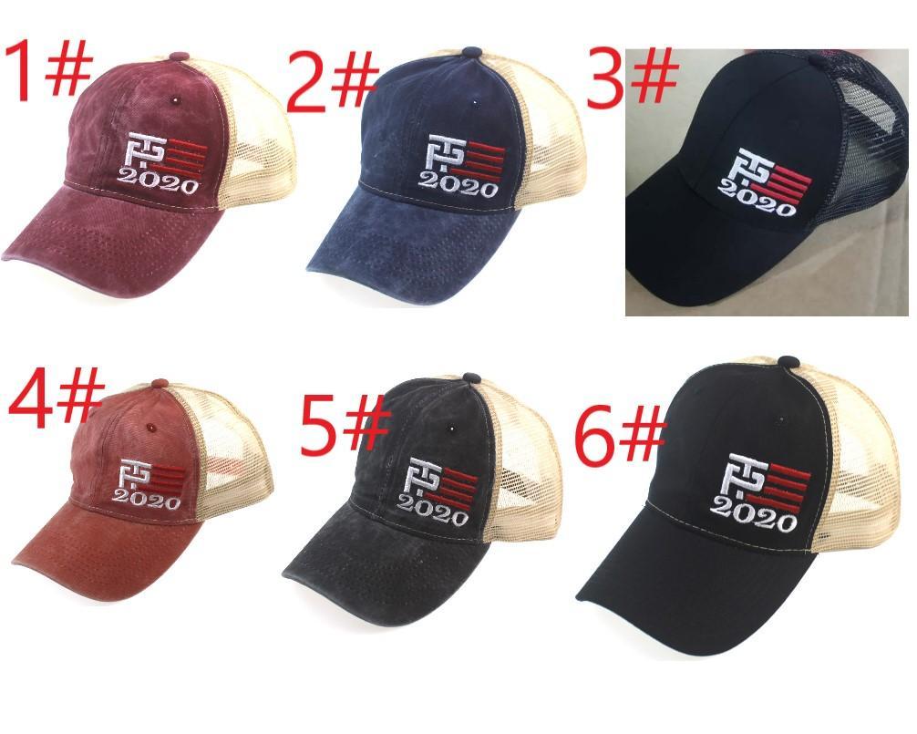 6 types Donald Trump 2020 Baseball Cap Patchwork lavé en plein air font de l'Amérique Grand Encore une fois chapeau président républicain casquette sport Mesh gros
