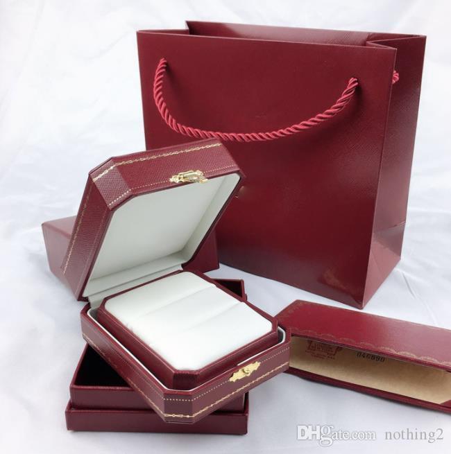 جودة عالية الأصلي مربع والمجوهرات قلادة حلقة زوج خاتم الحب سوار مجموعة مجوهرات هدية أكياس التعبئة والتغليف امرأة