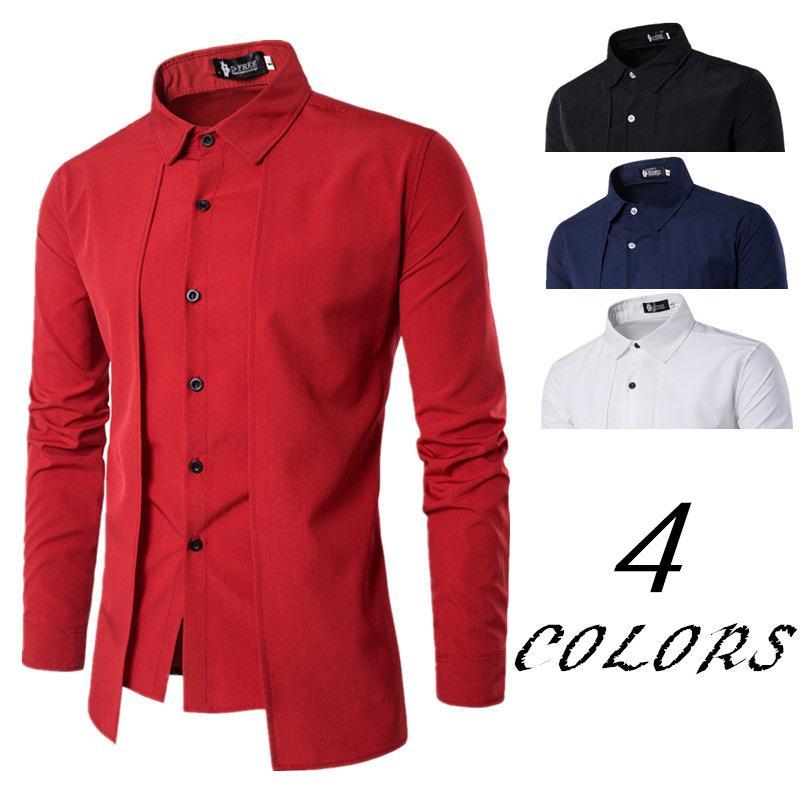 2019 남자 셔츠 가짜 두 문 드레스 셔츠 긴팔 슬림 피트 카미사 Masculina 캐주얼 남성 하와이 남성 사이즈 M-2XL