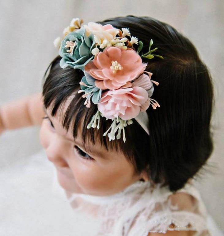 Kız saç bantlarında kızlar stereo simülasyon çiçek prenses hairbands bebek fotoğrafçılığı sahne çocuk doğum günü partisi saç aksesuarları