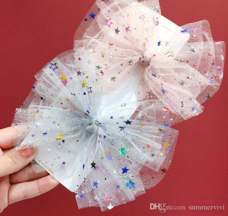 Girls colorful star sequins Bows hairpins kids multilayer lace gauze Bows princess hair clip boutique children Bowknot party barrettes F3733