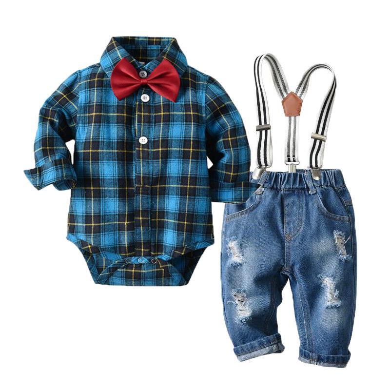 Nouveau-né Baby Boy Denim vêtements en coton à carreaux barboteuses Gentleman Jeans Vêtements Costume bavoir Outfit 6 - 24M CJ191225