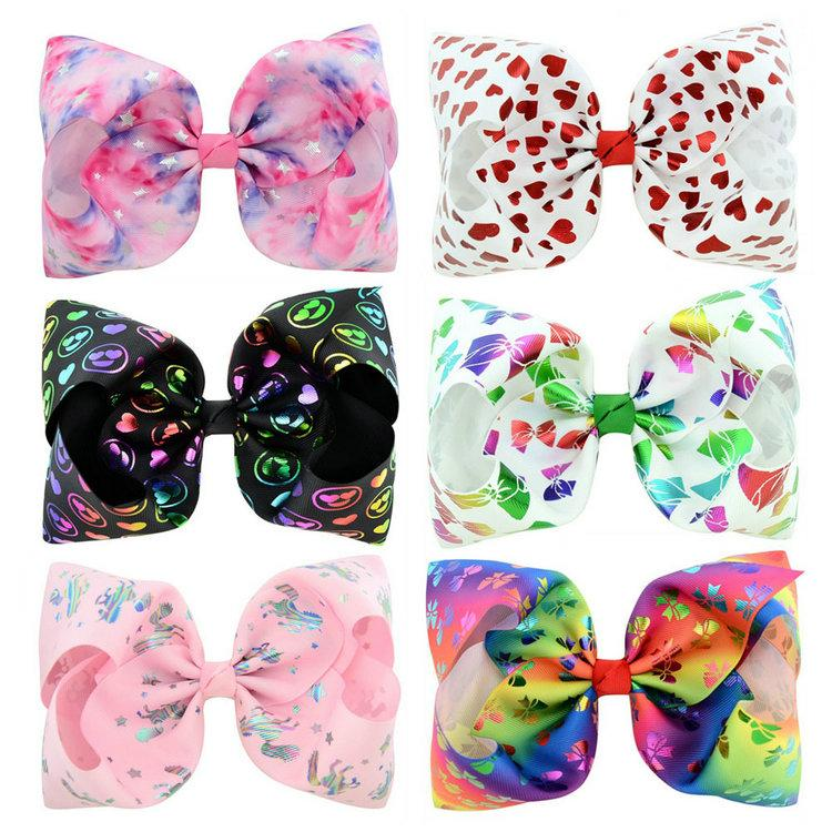 6 디자인 jojo siwa bow 8 인치 다채로운 큰 bowknot 아기 소녀 머리 클립 스타 심장 인쇄 베리렛 아름 다운