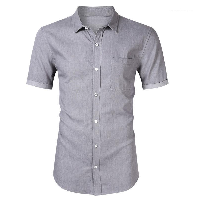 Camicia Casual Shirt Lapel Neck Slim Fit Tinta unita Maschio designer di abbigliamento Mens corta denim del manicotto