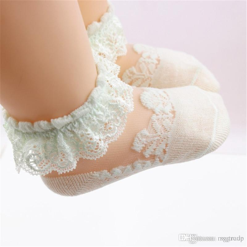 Free DHL INS Baby Girl's Lace See-through Sock 6 Colors 20pcs/lot Lovely Princess Newborn Kids Socks Solid Pink Summer Girls Socks 0-12