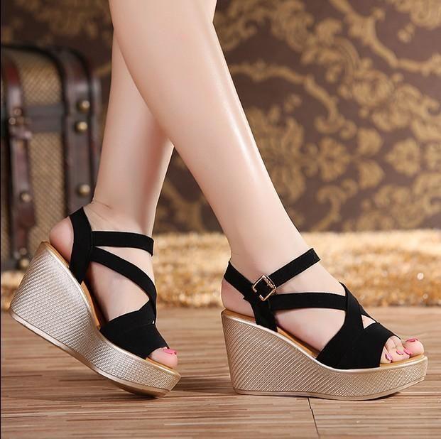 Women Girl Shoes Open Toe Fish Head Fashion High Heels Wedge Rhinestones Sandals
