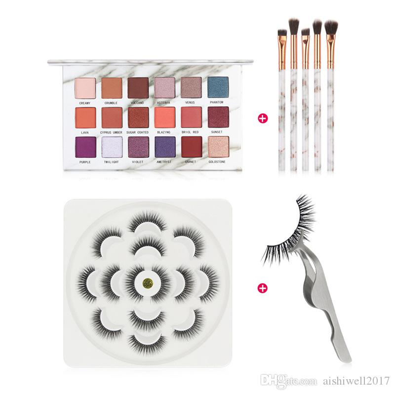 4PCS Make Up Set 7 Pairs 3D Mink False Eyelashes With Makeup Tools Eyelash Support 18 Colors Eyeshadow Palette With Brushes