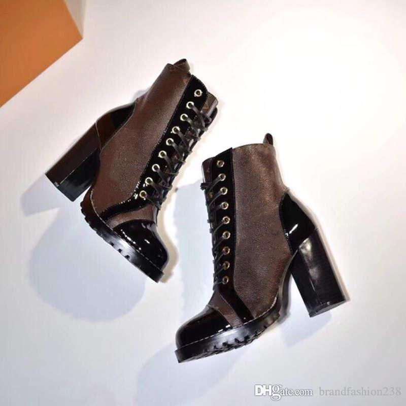 Encaje de la mujer botines del tobillo de arranque alta calidad de las botas del tobillo suelas de alta resistencia de ocio botas de señora Martin 35-42 con la caja