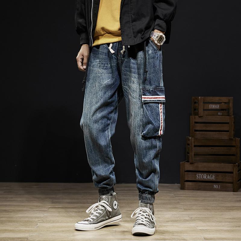 Pantaloni giapponese stile dell'annata di modo Uomo Jeans Loose Fit Denim Cargo Harem Pantaloni Pocket Designer Hip Hop Jeans Uomo Joggers