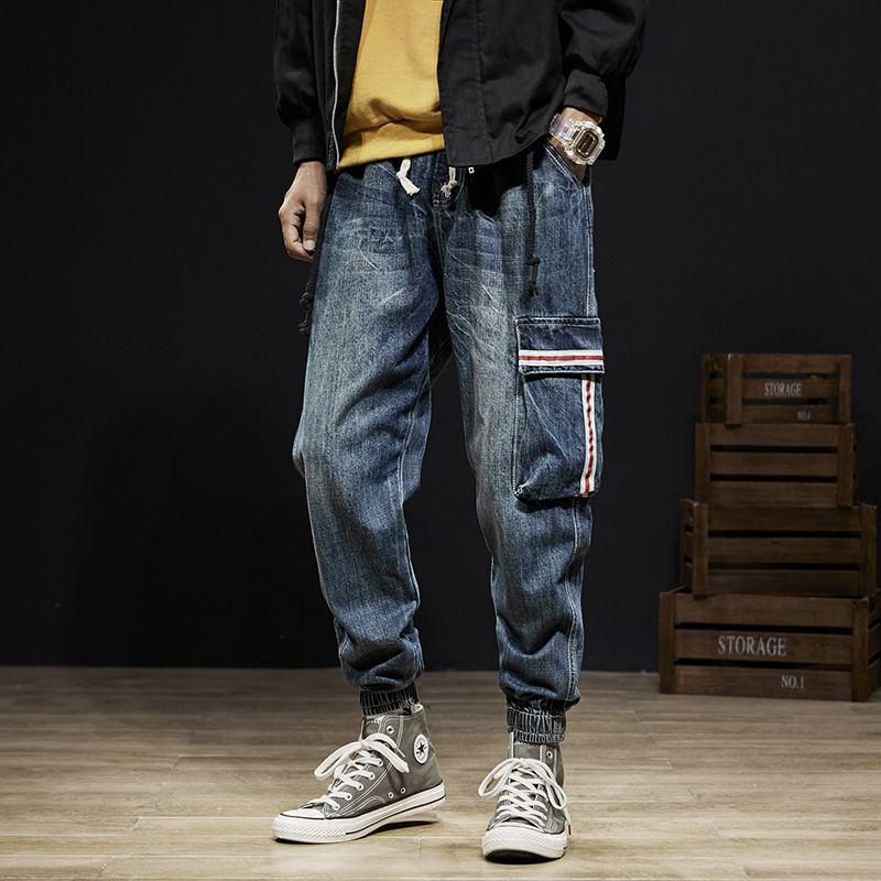 Pantalones de estilo Vintage Japanese Fashion Men Jeans Denim Holgado Carga Harem Pantalones de bolsillo de diseño Hip Hop Jeans Hombres Joggers