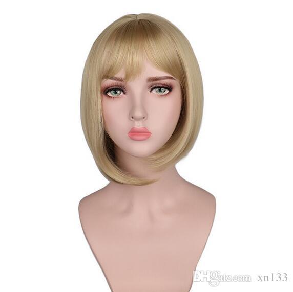 UK Womens Cosplay Wig Synthetic Hair Bang Silver Grey Short Bob Anime Full Wig