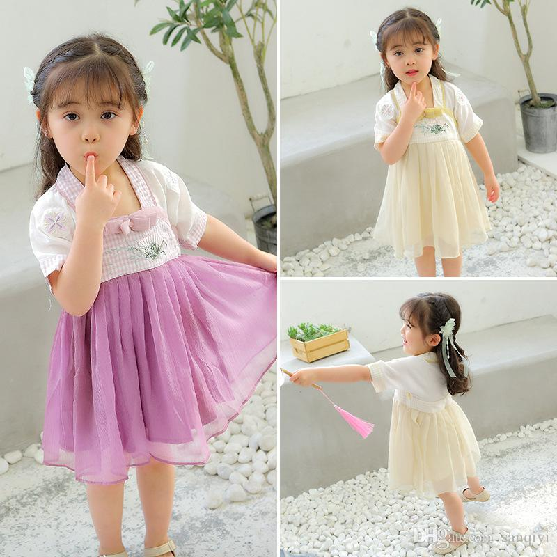 Girls Lovely Princess Dress baby Retro suit Stage skirt Lolita Lady Fairy pleated dress cheongsam Chinese traditional style clothes Embroide