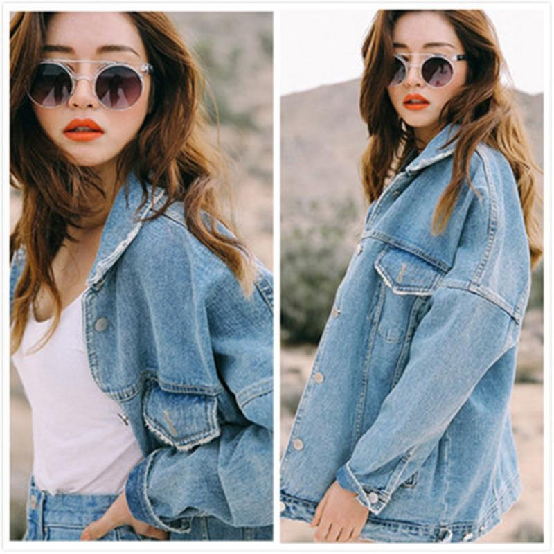 Uwback New Oversized Denim Jacket Mulheres Plus Size soltos jeans mulheres lavavam Brasão Denim Jackets Mulheres
