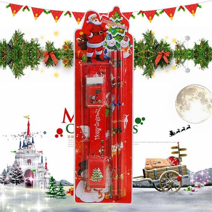 Симпатичные с Рождеством канцелярские набор 5 в 1 карандаши линейка ластик точилка для карандашей Санта-Клаус подарки для малыша офис школьные принадлежности