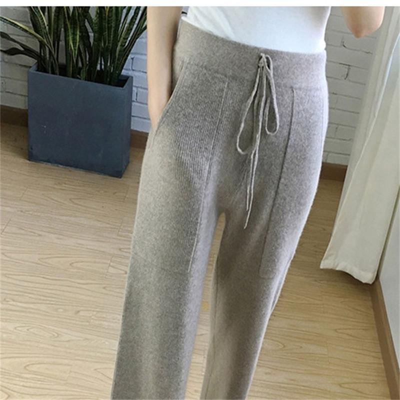 2019 nova primavera de cashmere calças largas pernas femininas casuais calças largas de cintura alta malha CJ191203 calças