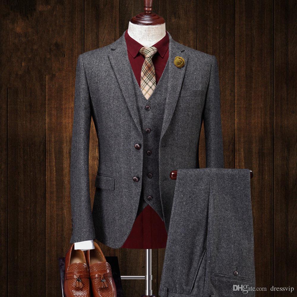 Giacca da uomo in tweed di lana a due bottoni Giacca gilet Pant 3 pezzi Abiti da cerimonia su misura grigio scuro Abiti da uomo da uomo d'affari