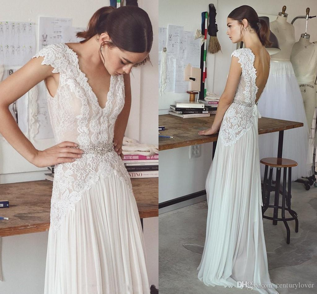 New Elegant A Line Summer Beach Boho Wedding Dresses Deep V Neck Cap Sleeves Beaded Chiffon Ruffle Floor Length Plus Size Bridal Gowns