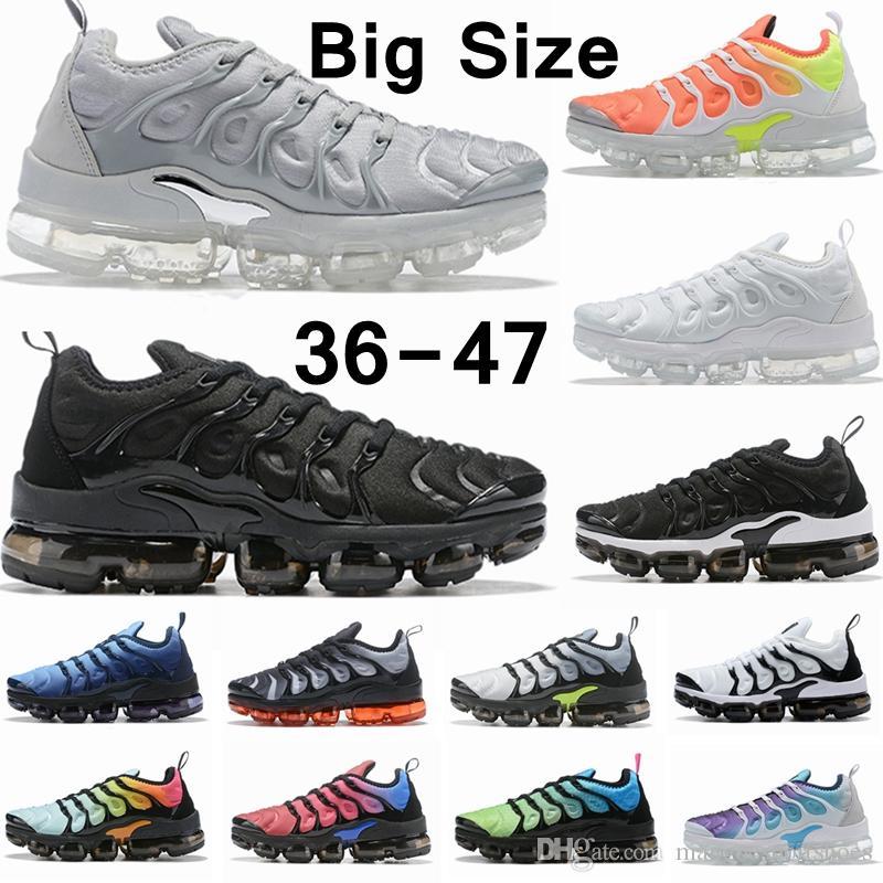 2020 TN زائد Chaussures الاحذية الكبيرة الحجم للحصول على الرجال النساء Colorways الثلاثي أبيض أسود المدربين الرياضة في الهواء الطلق حذاء 36-47