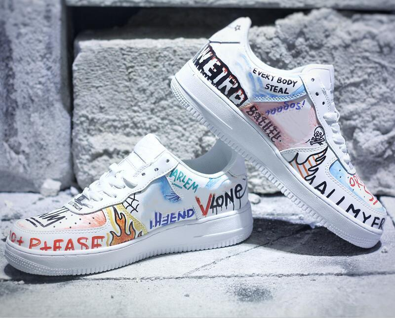 With Box Best Quality Force Low One Graffiti White Multi Color