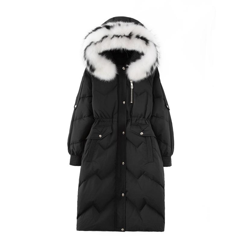(TopFurMall) Европейская зима Женщины Parkas вниз пальто куртки Real Fox Fur Lady Hoody Длинные пиджаки Шинель LF9168 T191030
