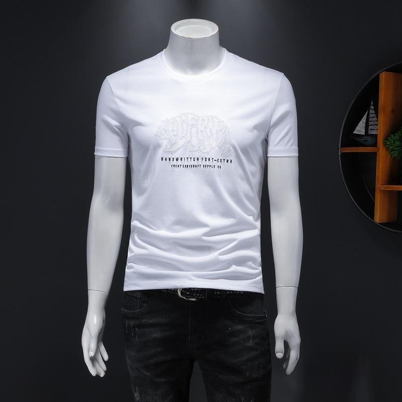 2020 hombres de alta calidad de manga corta de moda de verano camiseta casual cómodo cuello redondo camiseta ropa de moda JD1P