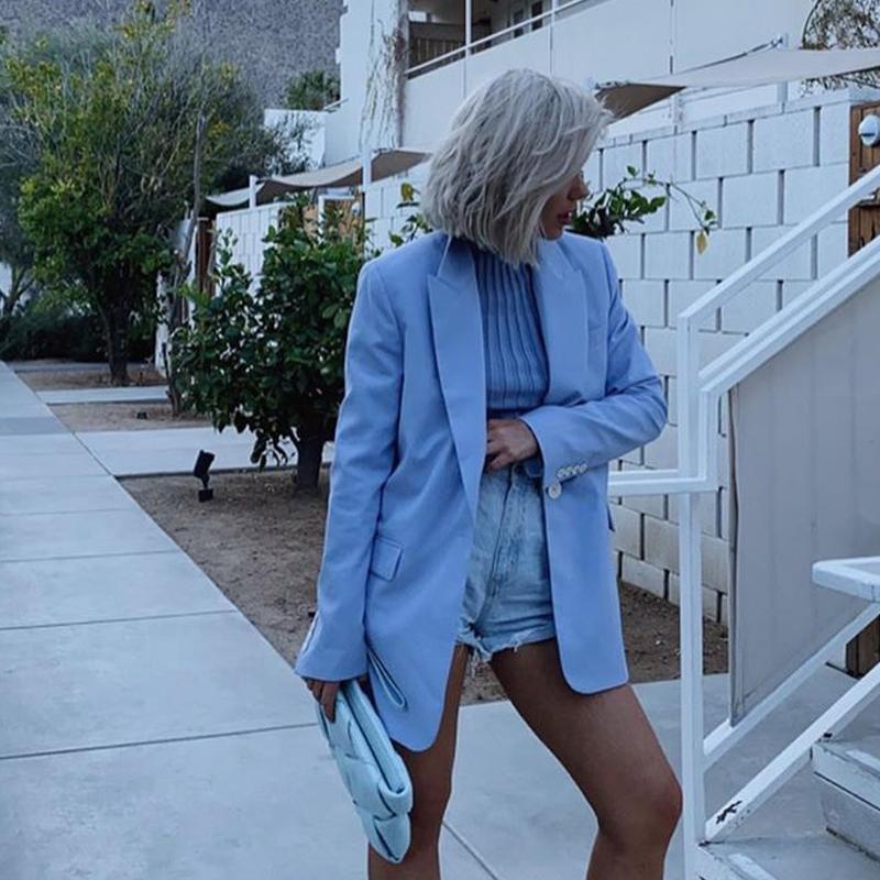 Katara Ofis Lady Çentikli Blazers Kadınlar Moda Katı Tek Düğme Ceket Kadınlar Şık Gevşek Suit Kadın Bayanlar FAD