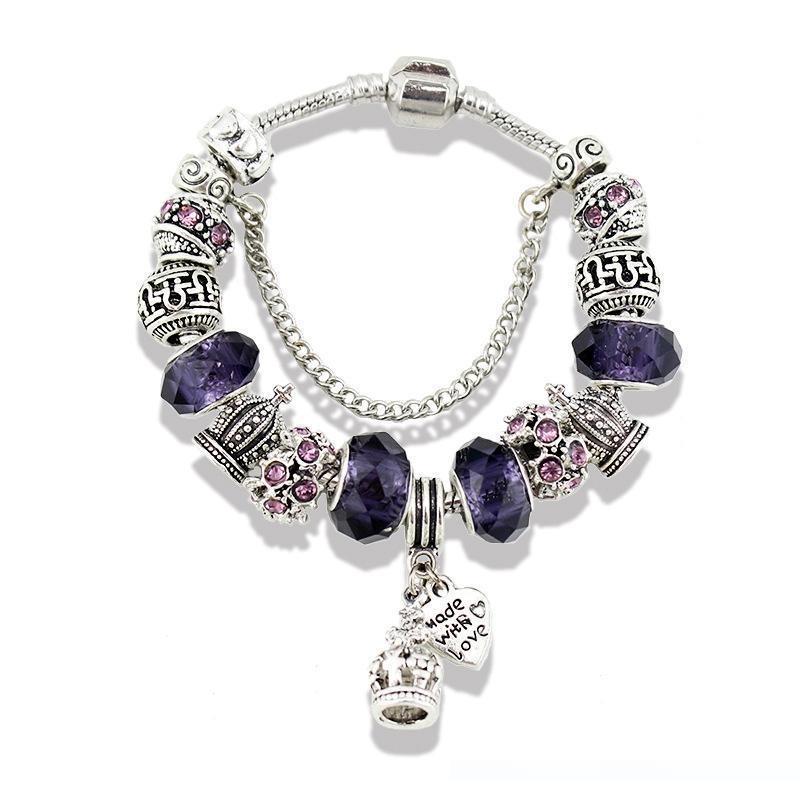 19 encantos Corona colgante de la pulsera de la caja original para Pandora de plata 925 chapado en cadena de serpiente rosada encanto verde pulseras regalo de las mujeres