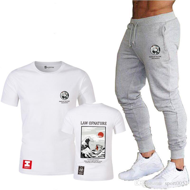 adulte motif de chat japonais courte haut de gamme manches hip-hop T-shirt des hommes streetwear + pantalons de survêtement conviennent S, M, L, XL, XXL