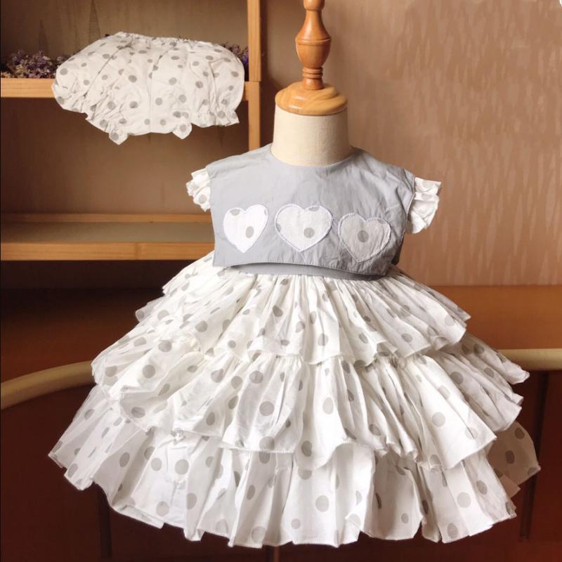 Девушка лето милый горошек шить принцессу Лолита платья Урожая испанского платье ребенок ребенок Свадьба День рождение партия