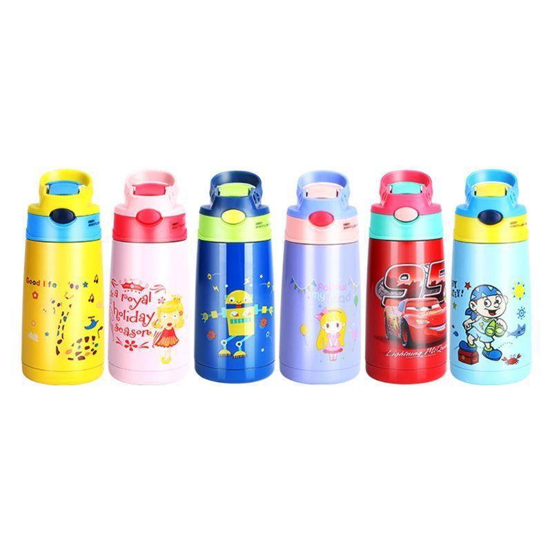 VFGTERTE Kinder Cartoon Trinkflaschen doppelte Schichten Edelstahl Wasser Thermos Kinder Insulated Cups portable Schule Y200330