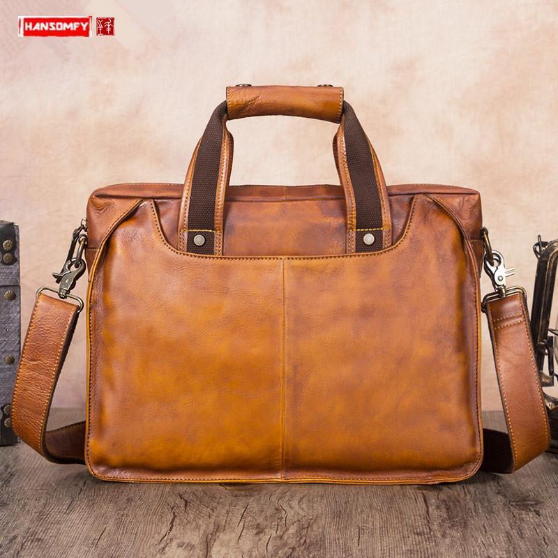 Vintage Leather Men Pasta Handmade Laptop Bag Men couro genuíno bolsa de couro real de couro de ombro Messenger Bags