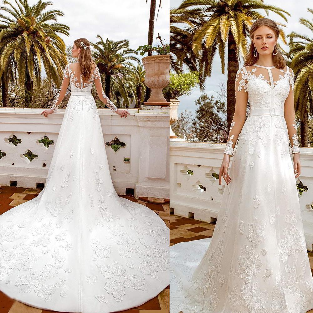 Bohême mariée A-ligne Robes longues Illusion manches pure cou dentelle perles Cour Appliques Robes de mariée train robe de mariée Robes