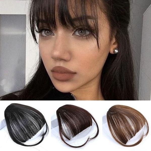 Ön Saç Bangs Peruk İnsan Saç In Clip Yeni Pretty Kız Saç Uzatma Bangs Düz Peruk Parçası Klip