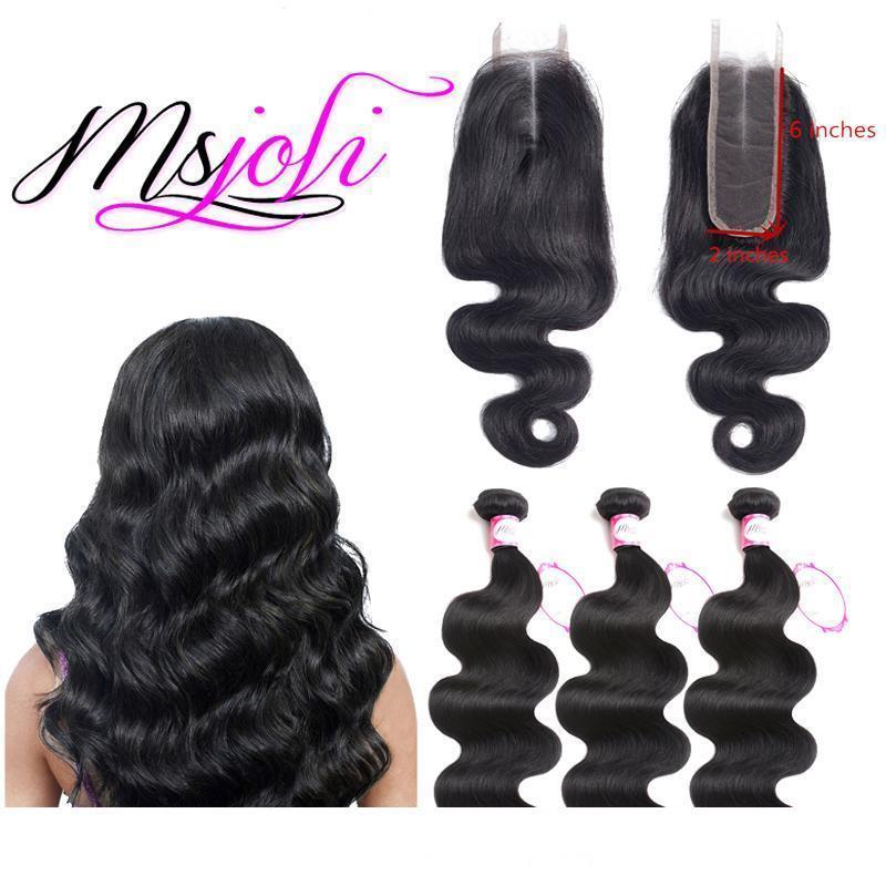 Msjoli Human Hair Peruvian Body Wave Bundles With 2x6 Lace Closure Middle part Remy human hair extensions unprocessed virgin hair body wave