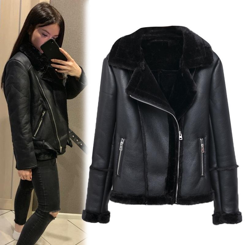 2019 New Fashion Women Faux Leather Fur Jackets Women Winter Zipper Streetwear Biker Motorcycle Plush Leather Jacket Girls Coat