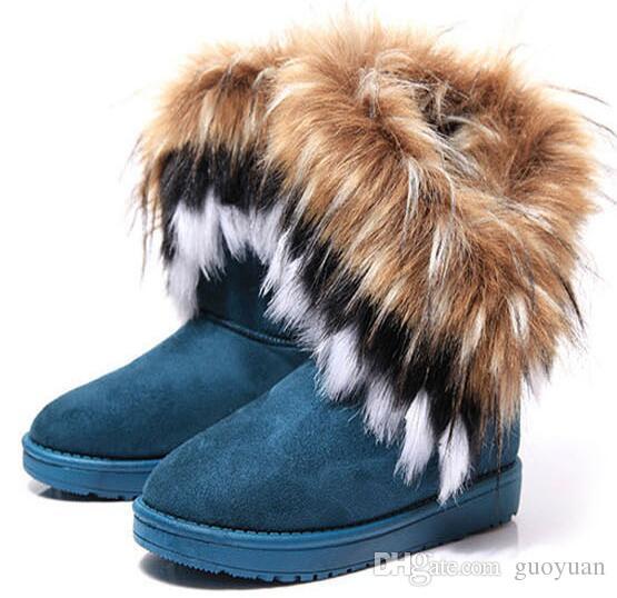 ¡Venta caliente! Envío gratis Fashion Rabbit hair y Fox Fur In tube Color botas de invierno de nieve cálida para las mujeres