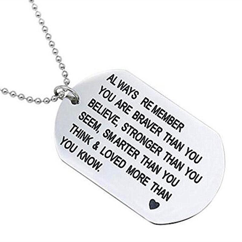 Elegant Chef Brother Inspirational Jewelry Necklace Gift Always Remember You are Braver Than You Believe