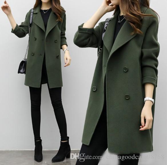Новых женщин Тонкий полушерстяные пальто пальто с длинным рукавом куртки воротник отложной Повседневная куртка осень Зимняя куртка Элегантная Шинель