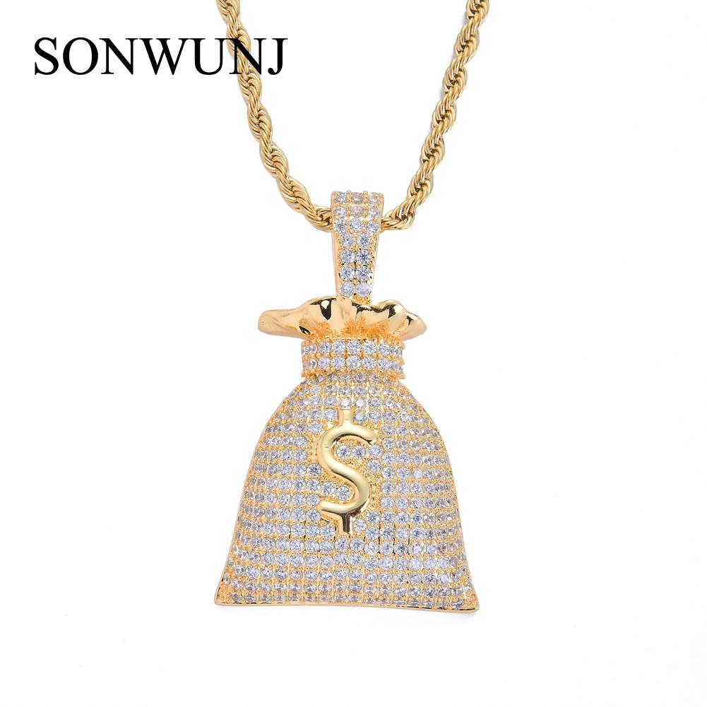 Brass Setting CZ Hip Hop US Dollar $ Mondy Bag Pendant Copper Micro pave CZ stones Necklace Jewelry for men and women K3713