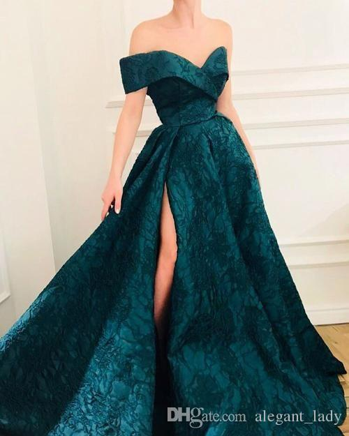 Hunter Green Slit Evening Formal Dresses 2019 Off Shoulder Sexy Puffy Skirt Lace Pattern Sweep Train Princess Dubai Occasion Prom Gown