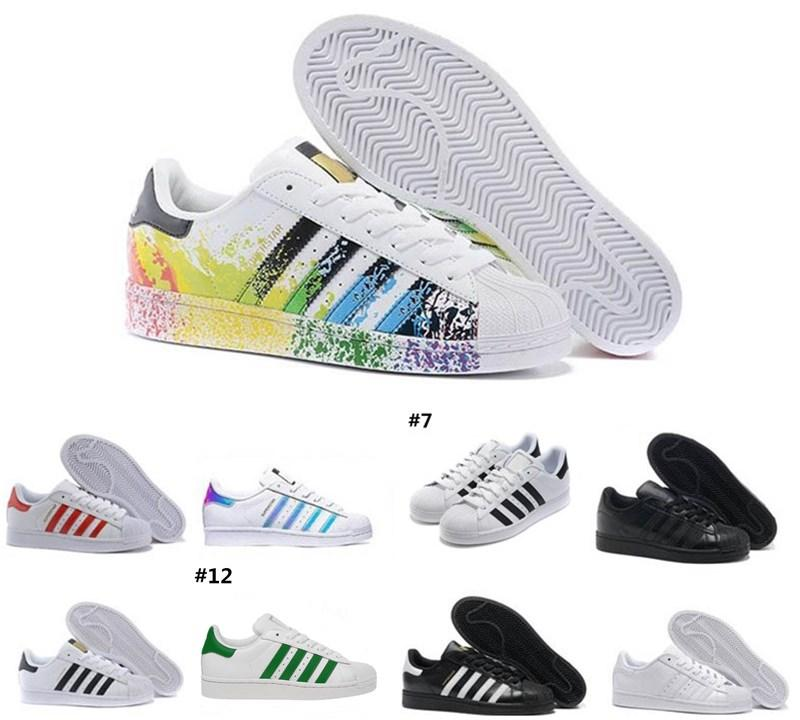 2020 Adidas stan smith vente Originals Superstar blanc Hologram irisé or rouge Superstars des années 80 Sneakers Fierté Super Star dame Hommes Sport Chaussures Casual 36-45