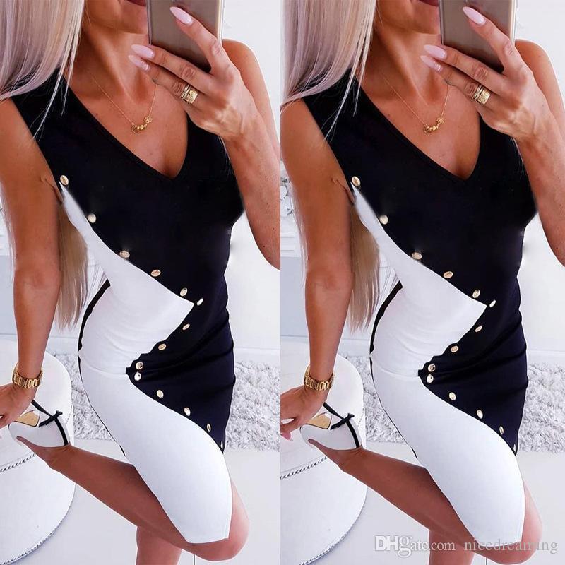 Офис Леди женщины платье черный и белый V образным вырезом без рукавов Sexy Bodycon Вечерние платья мини Vestidos элегантный hotsell